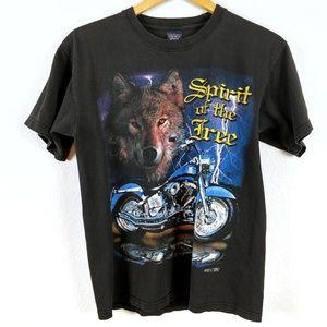 Wolf Spirit Motorcycle Biker Lightning Flag Tshirt